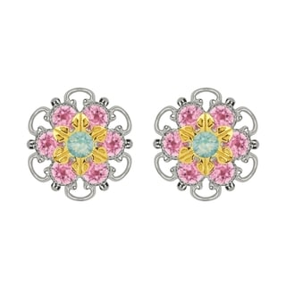 Lucia Costin Gold Over Sterling Silver Mint Blue Light Pink Crystal Stud Earrings