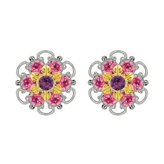 Lucia Costin Gold Over Sterling Silver Violet Pink Crystal Stud Earrings