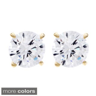 NEXTE Jewelry Goldtone or Silvertone Round Cubic Zirconia Stud Earrings