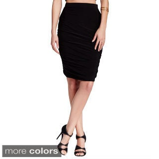 Women's Fitted Pencil Skirt With Side Shirring-Made In USA