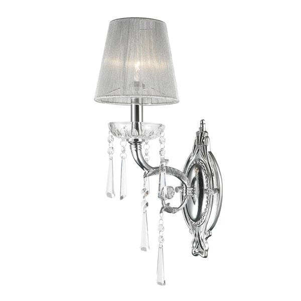 Wall Sconces With Shades And Crystals : Palatial High Gloss 1-light Arm Chrome Finish and Clear Crystal Wall Sconce Light with White ...