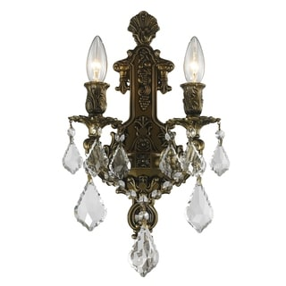 French Imperial Collection 2-light Antique Bronze Finish and Clear Crystal Wall Sconce