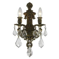 French Royal 2-light Antique Bronze Finish and Clear Crystal Wall Sconce