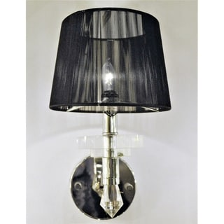 Gatsby Collection 1 Light Arm Chrome Finish and Clear Crystal Wall Sconce Light with Black String Shade