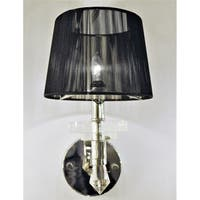 Modern Elegance 1-light Arm Chrome Finish and Clear Crystal Wall Sconce Light with Black String Shade