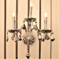 Venetian Italian Style 3-light Chrome Crystal Candle 13-inch Wide Medium Wall Sconce