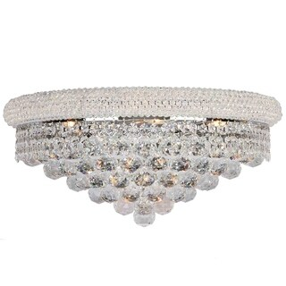 French Empire 4-light Chrome Finish and Clear Crystal 20-inch Wide Large Wall Sconce