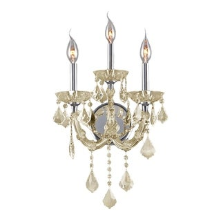 Maria Theresa Imperial 3-light Chrome Finish and Golden Teak Crystal Candle Wall Sconce