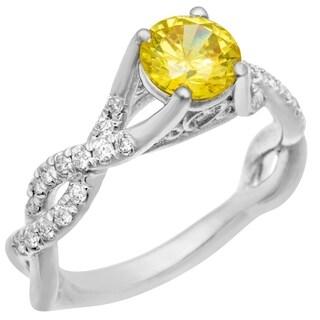 14k White Gold Yellow CZ Center .35ct Diamond Ring