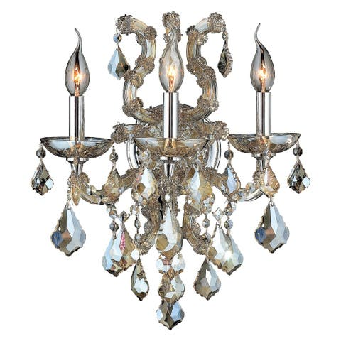 Maria Theresa Imperial 3-light 15 in. Golden Teak Crystal Candle Wall Sconce Large - Golden Teak