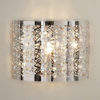 Metro Candelabra 1-light LED Chrome Finish and Clear Crystal Wall Sconce Light