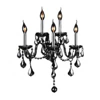 Venetian Italian Style 5-light Chrome Finish and Smoke Crystal Wall Sconce