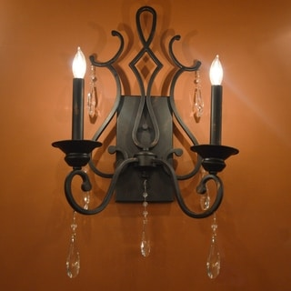Traditional 2-light Flemish Brass Finish with Clear Crystal Wall Sconce