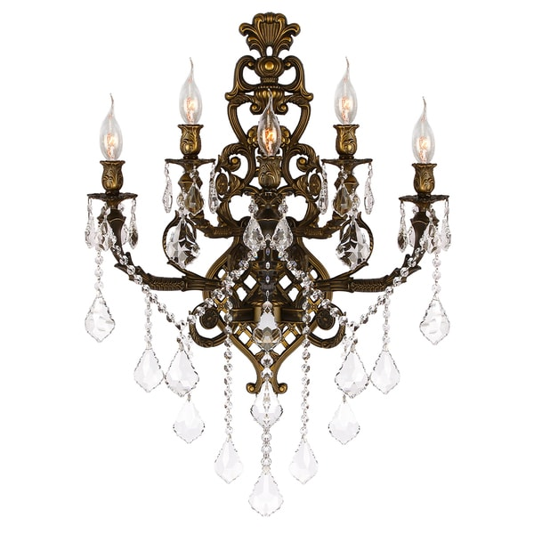 French Royal 5 Light Antique Bronze Finish Clear Crystal