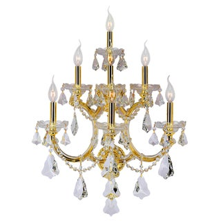 Maria Theresa Grand 7-light Gold Finish Clear Crystal Candle 3-tier 22-inch Wide Large Wall Sconce
