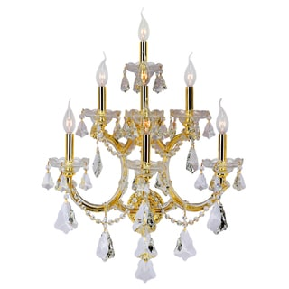 Maria Theresa 7-light Gold Finish Clear Crystal Candle 3-tier 22-inch Wide Large Wall Sconce