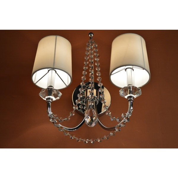 White Crystal Wall Sconces : Modern Elegance Collection 2-light Chrome Finish and Clear Crystal Wall Sconce Light with White ...