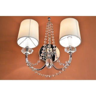 Gatsby Collection 2 Light Chrome Finish and Clear Crystal Wall Sconce Light with White Silk Shade