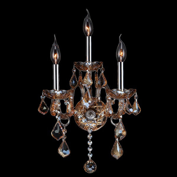 Venetian Italian Style 3-light Chrome Finish and Amber Crystal Candle 13-inch Wide Medium Wall Sconce