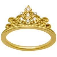 14k Yellow Gold .10ct Diamond Crown Ring