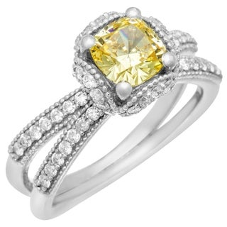 14k White Gold Yellow Cubic Zirconia Center .55ct Diamond Infinity Ring