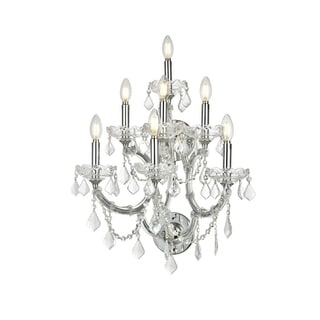 Maria Theresa Grand 7-light Chrome Finish and Large Clear Crystal 3-tier Candle 22-inch Wide Extra Large Wall Sconce