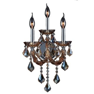 Venetian Italian Style 3-light Chrome Finish and Amber Crystal Candle Wall Sconce