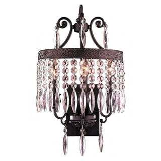 European Style 3-light Crystal Rustic Flemish Brass Finished Wall Sconce