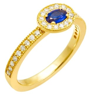 14k Yellow Gold CZ Blue Spinel Center .30ct Diamond Infinity Ring
