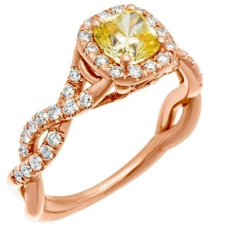 14k Rose Gold Yellow CZ Center .55ct Diamond Infinity Ring