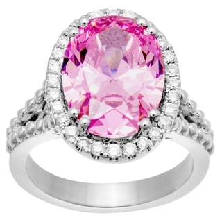 14k White Gold .35ct Diamond with Pink CZ Center Halo Ring