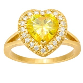 14k Yellow Gold .28ct Diamond with Yellow CZ Center Heart Ring