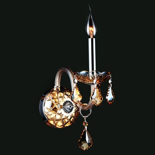 Venetian Italian Style 1-light Chrome Finish and Amber Crystal Candle 4-inch Wide Small Wall Sconce