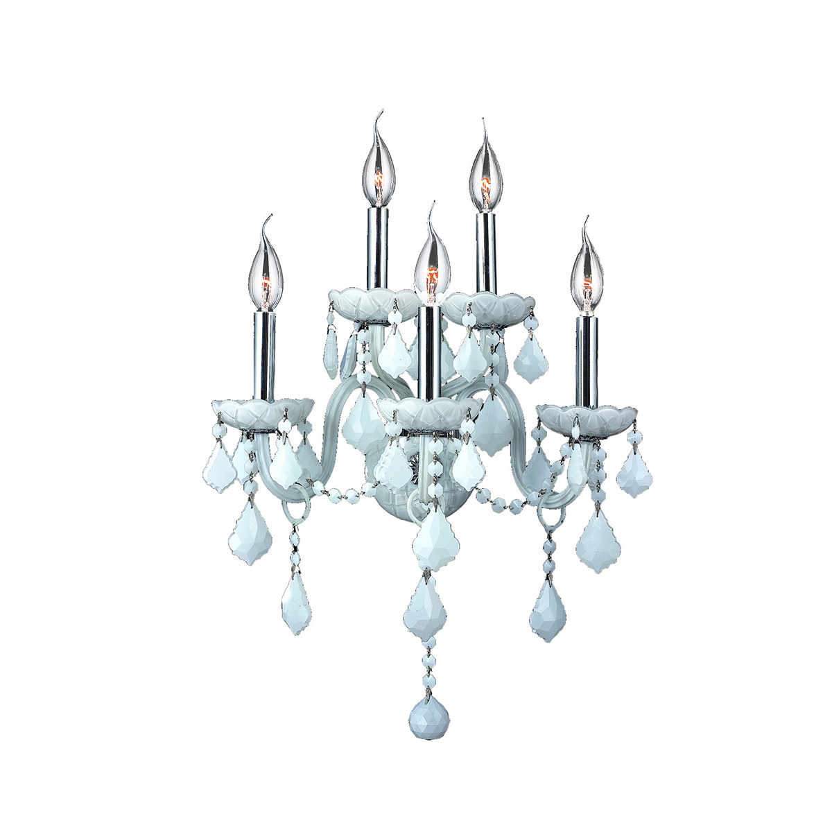 Venetian Italian Style 5-light Chrome Finish and White Cr...