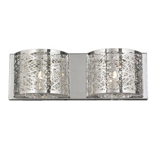 Modern Elegance 2-light LED Chrome Finish and Clear Crystal Laser Cut 20-inch Wide Wall Sconce