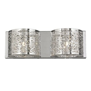 Metro Candelabra 2-light LED Chrome Finish and Clear Crystal Laser-cut 20-inch Wide Wall Sconce