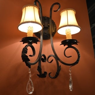 Metro Candelabra 2-light Flemish Brass Finish and Clear Crystal with Orange Gold Shade Wall Sconce