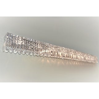 Glam Art Deco Style 12-light Chrome Finish with Clear Crystal 60-inch Wide Wall Vanity Light