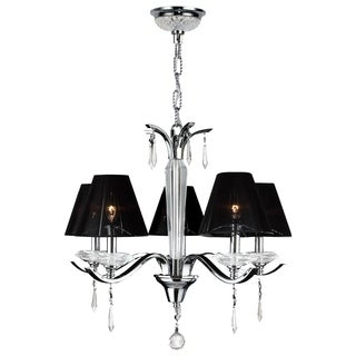 Contemporary 5-light Arm Chrome Finish Clear Crystal Chandelier with Black String Shade