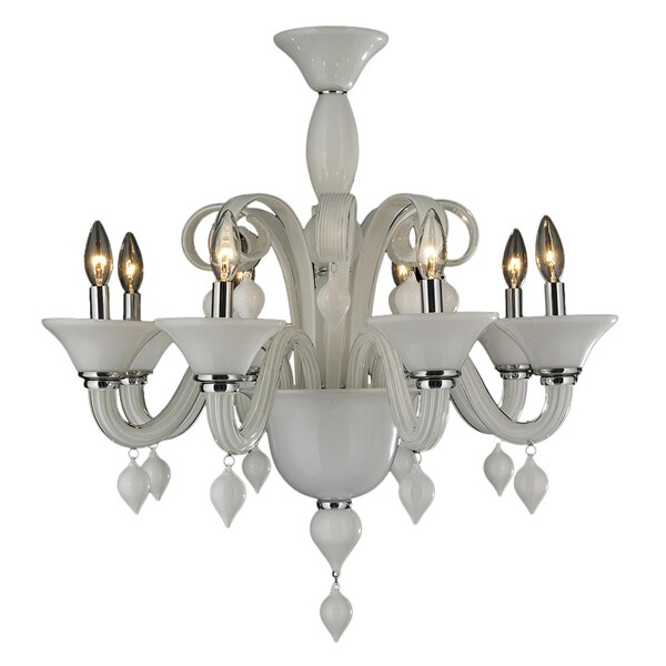 Murano Venetian Style 8 Light Blown Glass 27 Inch White Finish Chandelier