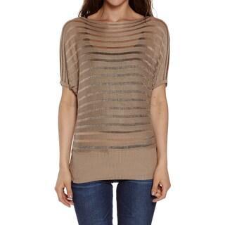 Dinamit Women's Cotton Boat Neck Dolman Short Sleeve Sweater (Option: Khaki)
