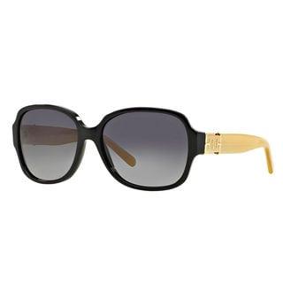 Tory Burch Women's TY7073 1337T3 Black Plastic Square Sunglasses