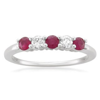 Montebello 14k White Gold 1/3ct TGW Ruby and White Diamond 5-Stone Wedding Band (G-H, SI1)