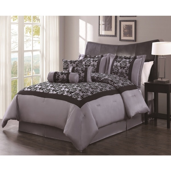 Dana Grey/Black Flocking 7-piece Comforter Set