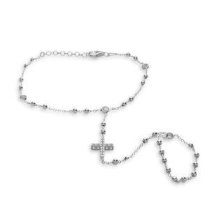 Sterling Silver Cubic Zirconia Cross Rosary Ring Bracelet