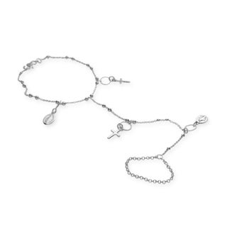 Sterling Essentials Silver Rosary Ring Bracelet