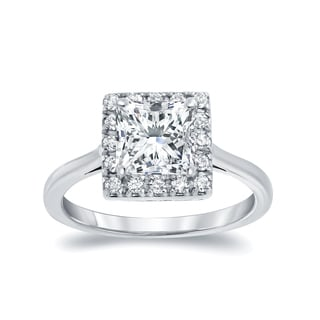 Auriya 14k White Gold 1 1/4ct TDW Princess Cut Diamond Halo Engagement Ring