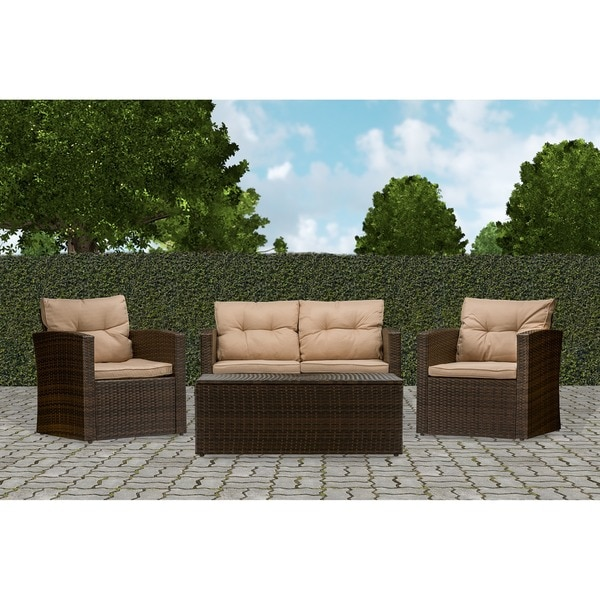 Baxton Studio Russo Modern Contemporary PE Rattan 4 Piece Outdoor Beige  Seated Loveseat, Chairs