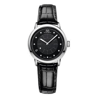 Rue Du Rhone Women's 87WA120002 'Double 8' Diamond Black Leather Watch