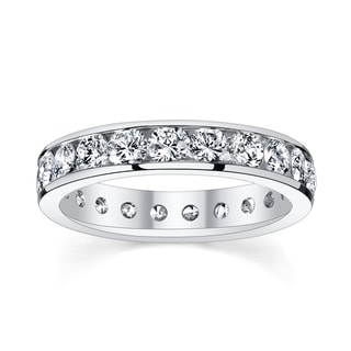 14k White Gold 2ct TDW Diamond Channel Eternity Wedding Band
